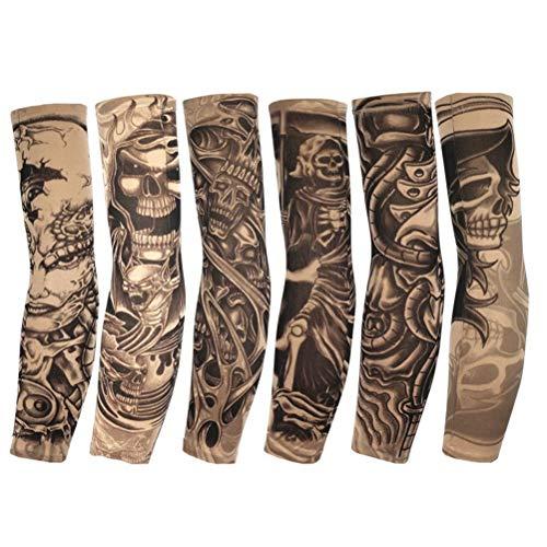 6Pcs Brazo Tatuajes Mangas para Hombres Mujeres, Unisex Tribal tótem cráneo Flor Moda Tatuajes Mangas Ciclismo al Aire Libre Baloncesto Protector Solar Nylon Transpirable Estiramiento Tatuajes Mangas