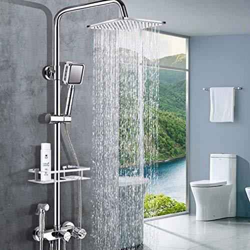 Sistema de ducha Termostato Sistema de ducha, Mezclador de ducha de baño cromado montado en la pared con cabezal de ducha tipo lluvia, Ducha de mano, Riel de pared, Ahorro de agua, Protección contra