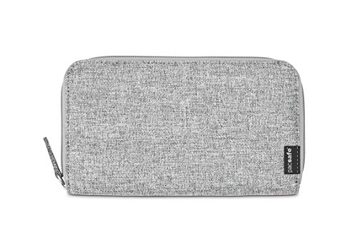 Pacsafe RFIDsafe LX250 Anti-Theft RFID Blocking Zippered Travel Wallet, Tweed Grey