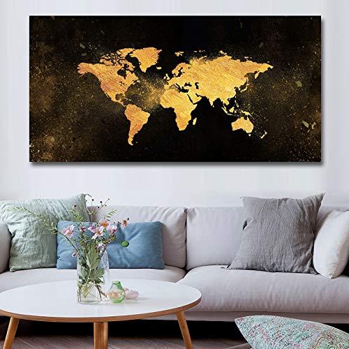 Frameloos Canvas prints schilderij moderne zwart goud wereldkaart wall art poster en prints foto's woondecoratie voor de woonkamer