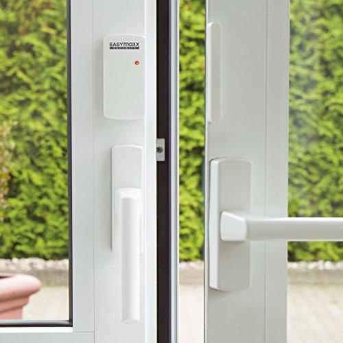 easymaxx 02481 Security Alarmanlage für Türen und Fenster, Magnetsensor-Technik, 110db, kein Bohren nötig, kabellos, inklusive Fernbedienung, Weiß