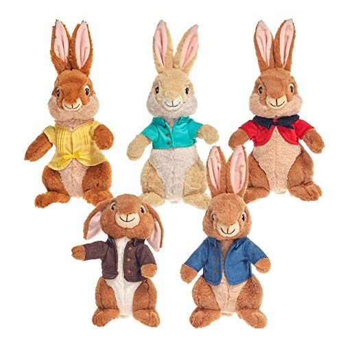 Peter Rabbit Peluches Personajes Benjamin, Cotton Tail, Flopsy, Mopsy y Peter, 34 CM (13'), Modelo a...