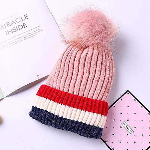mlpnko Sombrero de Punto a Rayas de Pareja Sombrero de Lana Gruesa y cálida Orejeras al Aire Libre Sombrero código Rosa