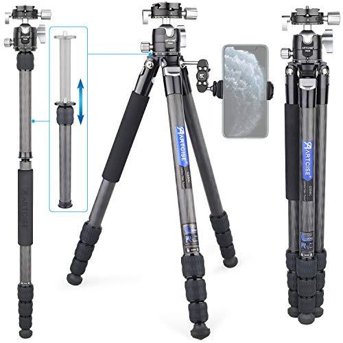 カーボン 三脚 コンパクトトラベル三脚 26mmパイプ径 全高1610mm ARTCISE デザイン 軽量設計 4段 ナットロック式 一脚可変式多場景適用 カメラビデオ 三脚 耐荷重15kg プロフェッショナルレベル撮影機械 デジタルカメラ 一眼レフカメラ Canon Nikon Petax Sonyなど用 収納バック付き 旅行用 持ち運びに便利CS50C (26mmパイプ径)