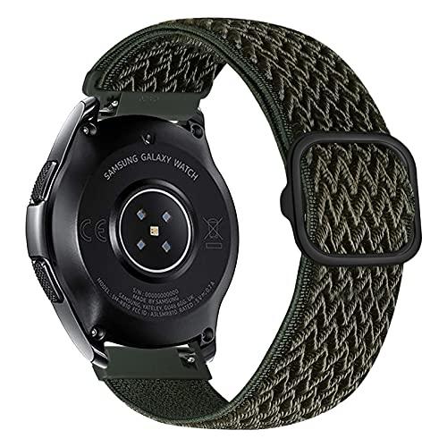 iBazal 22mm Correa Galaxy Watch 46mm Pulsera Nylon Banda Trenzada Lazo Loop Repuesto para Samsung Galaxy Watch 3 45mm/Gear S3 Frontier Classic, Huawei Watch GT/GT 2 46mm Woven Sport Band - Verdes