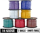 14 Gauge 7 Color Combo Automotive Low Voltage Primary Wire 100 ft Roll (700 ft total) for Car Stereo Audio Amplifier Remote Trailer Harness hookup Wiring