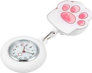 Hemobllo Relógio Nurse Watch de silicone para enfermagem, broche de relógio de lapela com clipe de relógio de quartzo médi...