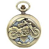 Montre de Poche Avaner Montre Gousset Cadran Numérique Motif de Moto Couvercle Sculptée Montre Homme Pas Cher Montre...