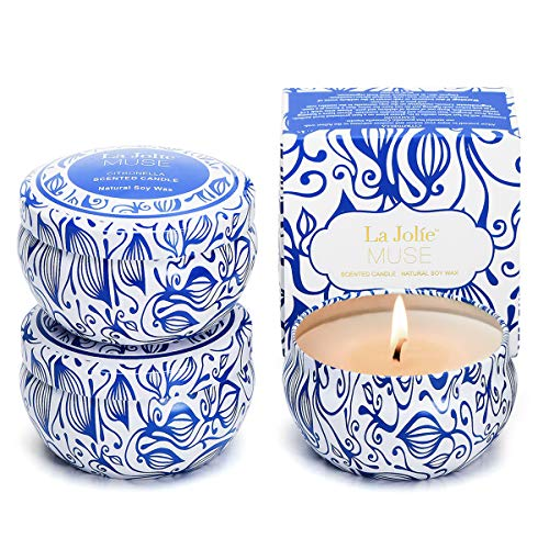 LA JOLIE MUSE Citronella Candles Outdoor - Natural Soy Wax Scented Candle Indoor Gift Set of 3, 6.5 X 3 oz