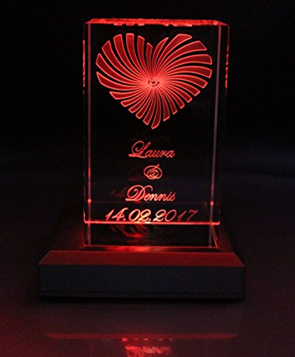 VIP-LASER 3D Glaskristall XL Strahlendes Herz mit Deinem Wunschdatum und Wunschnamen graviert Hochzeit oder zur Verlobung! (+ Leuchtsockel LED Schwarz)