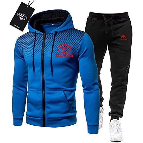 BOLGRTYXC Herren Trainingsanzug Einstellen Joggen Passen Toyo-ta Kapuzenpulli Zip Jacke + Hose Sport R Herren/blue/L