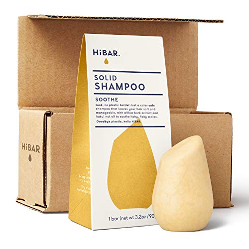 HiBAR shampoo bar with zero waste packaging and shipping. SOOTHE for itchy, flaky scalps. Eco-friendly, all natural, and plastic free.