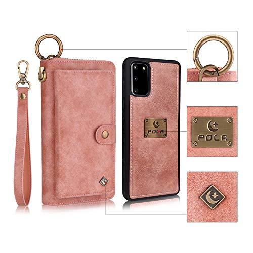 Funda para Samsung Galaxy S20 Ultra Multifuncional Flip Folio Zipper Wallet Vintage magnético Funda Protectora de Cuero Tipo Desmontable Billetera con Ranuras para Tarjetas y Stand - Rosado
