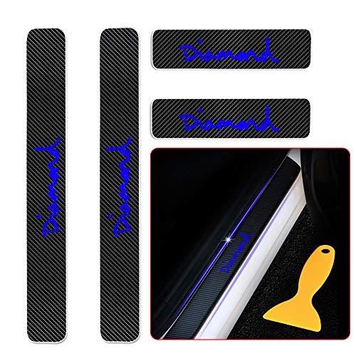 Für Aygo Camry Yaris Auris Nouveau Prius Verso Avensis GT86 Land Cruiser CH-R Hilux 4D Carbon Einstiegsleisten Deko Folie, Lackschutzfolie Selbstklebend, Lackschutz Aufkleber Blau 4 Stück