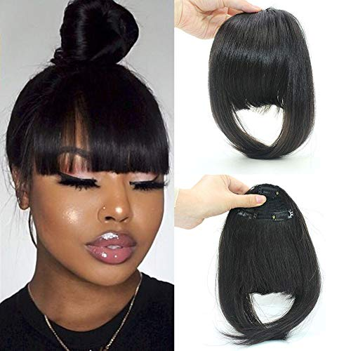 Clip in Bangs Fringe Real Human Hair Bang Clip in Hair Extensions Clip on Bangs with Temples