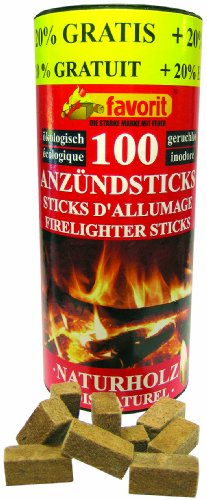 Favorit 1257 Anzündestiks Naturholz; Praktische Anzünder aus Echtholz und Wachs, besonders brennstark und einfach zu verwenden; in praktischer Vorratsbox, 100 Stück + 20% gratis