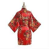 XFLOWR Señoras Verano Peonía Seda Simulación Túnica Satén Señora Corta Popelina Boda Kimono Vestido de Novia Vestido de Maquillaje Ropa de Dormir Vestido de una Talla Rojo