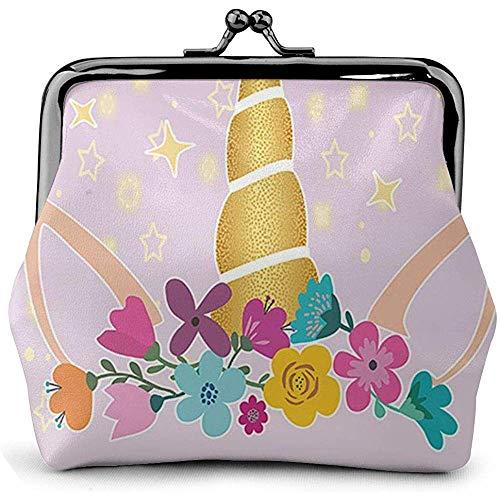 Slapende eenhoorn meisje met bloem sterren gesp portemonnee portemonnee retro zak kussen slot portemonnee portemonnee