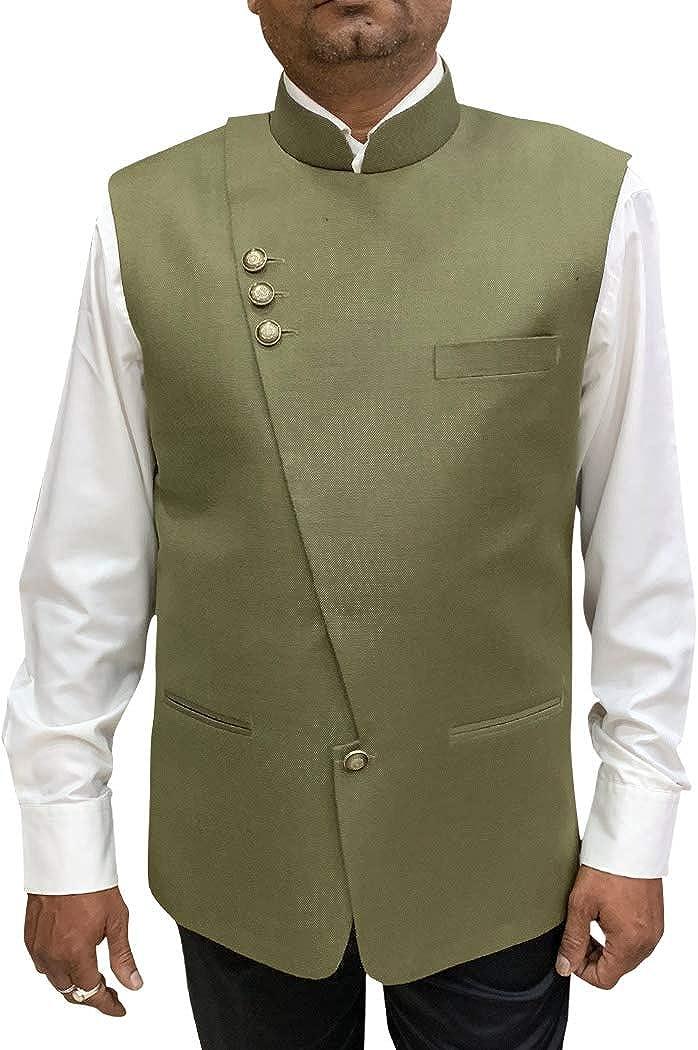 INMONARCH Mens Angarakha Style Jacket Khakhi Nehru Vest for Partywear NV102