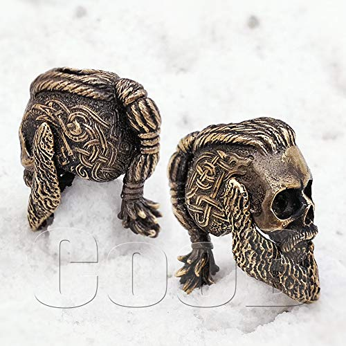 CooB EDC Paracord Bead Beads Ragnar Lothbrok Skull Moving Jaw Charm Pendant DIY Hand-Casted Beads Charms for Paracord Bracelet Knife Lanyar 1pcs/Lot (Ragnar Bronze)