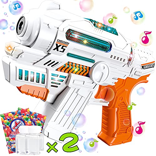 HEEKU Bubble Guns for Kids with Bubble Machine Music and Light Bubble Makers for Bubble Blaster Party Favors, Bubble Toys, Outdoors Activity, Birthday Gift Bubble for Toddler and Kids
