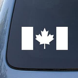 CMI554 CANADA FLAG CANADIAN Die Cut Vinyl Car Decal Sticker for Car Window Bumper Truck Laptop Ipad Notebook Computer Skateboard Motorcycle | Premium White Vinyl Decal | 5.8