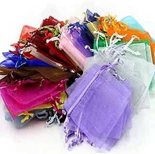 حقائب هدايا Waymeduo-100 قطعة من الأورجانزا ، رباط شفاف 7x9 سم لحفلات الزفاف أكياس الحلوى حقائب مجوهرات - مختلط الألوان