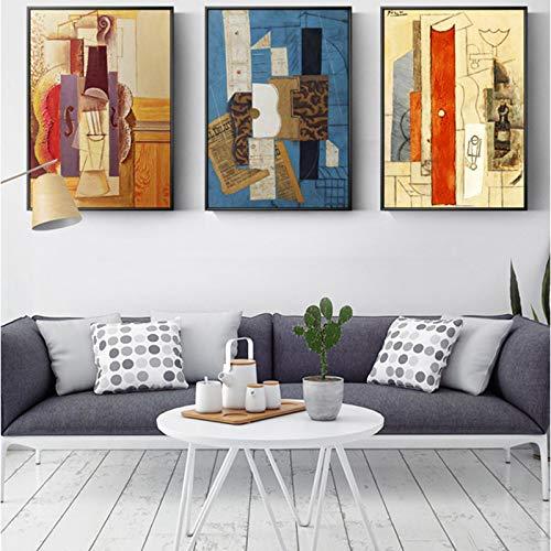 Picasso di fama mondiale astratta chitarra tela pittura poster e stampe wall art immagini per soggiorno camera da letto decorazioni per la casa 50x70cmx3pcs Senza cornice