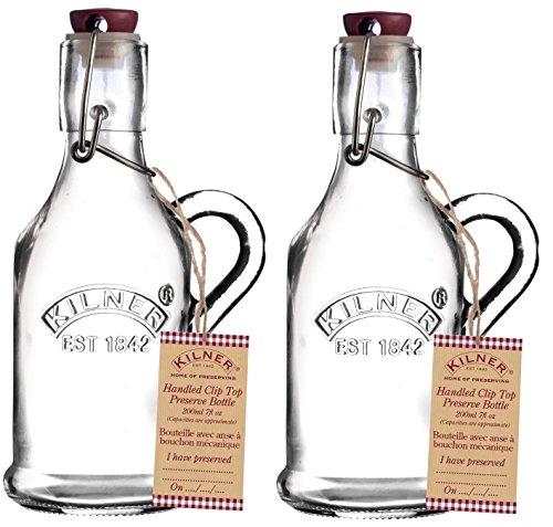 Kilner - Bouteille en verre transparent à couvercle supérieur à clip - 200 ml - Hermétique, Verre, 2