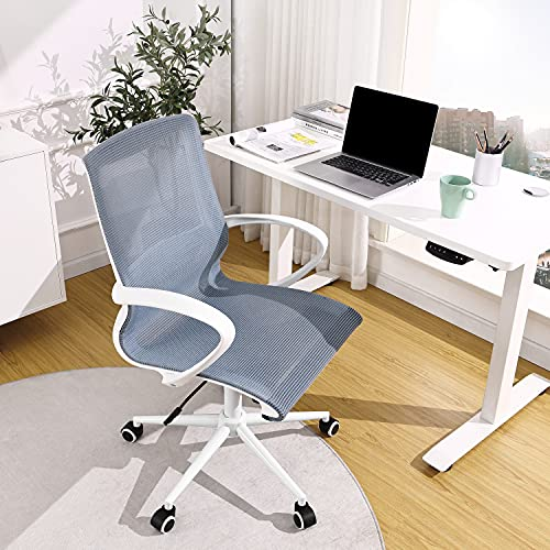 OWLN PHILI Home Office Mesh Chair, Ergonomic Mid Back Desk Chair with Hollow Out Design, Breathable Fabric Rolling Chair, Swivel Computer Task Chair with Lumbar Support