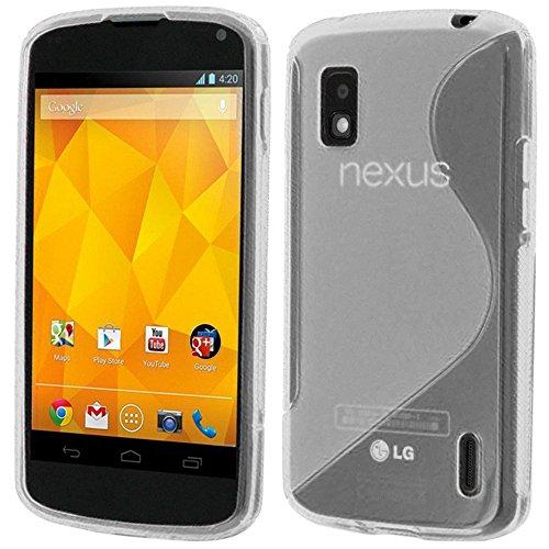 ebestStar - Funda Compatible con LG Nexus 4 E960 Carcasa Gel Silicona Gel TPU Motivo S-línea, S-Line Case Cover, Transparente [Aparato: 133.9 x 68.7 x 9.1mm, 4.7'']