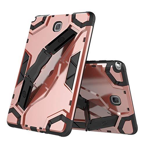 MAXJCN Caja del teléfono para Samsung Galaxy Tab SM-T350 de 8.0 pulgadas (versión 2015), caja de tableta resistente a prueba de golpes, defensa híbrida de armadura híbrida con soporte plegable, correa