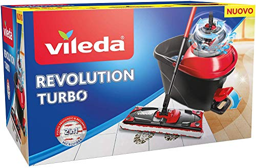Vileda Revolution 163870 Turbo Sistema Lavapavimenti con Centrifuga, Pedale e 1 Panno in Microfibra, Nero/Rosso