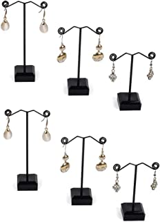 Chris.W Black Acrylic Earring T Stand Showcase Displays Jewelry Tree, Set of 6Pcs in 3 Sizes