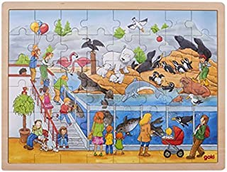 Goki- Puzzle-Visite au zoo-48 pièces, 57744, Multicolore