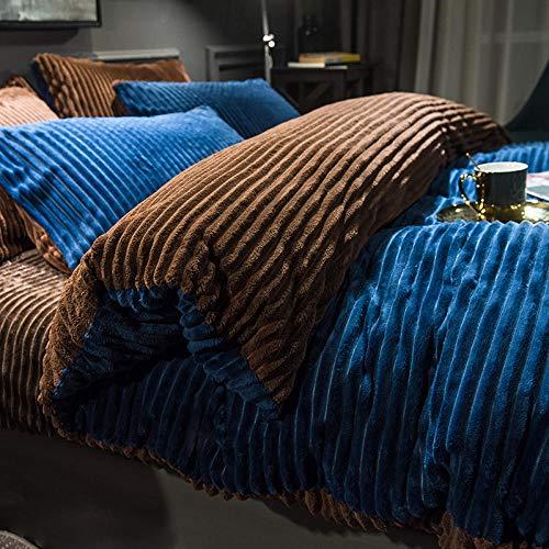 Shinon bedding duvet covers queen,Winter cartoon flannel short velvet sheet double-sided plus velvet warm duvet cover-C_1.8m bed (4 pieces)