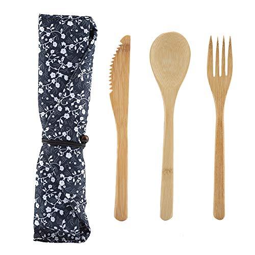 Juego de vajilla - Juego de vajilla de bambú reutilizable de estilo japonés Juego de vajilla Kinfe y tenedor y cuchara