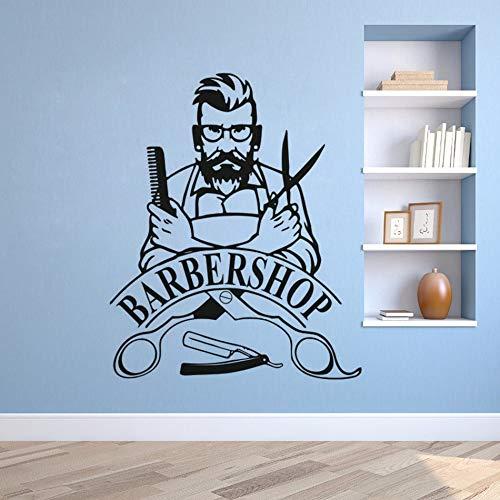 Barber Hipster Vinyl Wandaufkleber Friseursalon abnehmbares Fenster Poster Friseur Logo Logo Wandtattoo Kamm Schere Dekoration Aufkleber A2 57x69cm