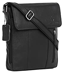 Wildhorn 31.8 cms Genuine Leather Black Sling Messenger bag for men | Everyday Multipurpose Crossbody Office Traveller bag (MB244 Black),WildHorn,MB244 BLACK