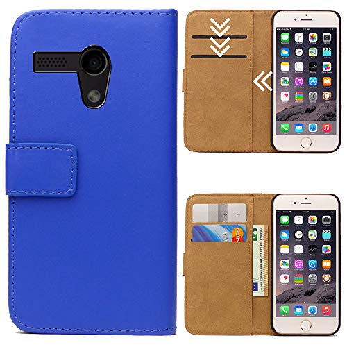 Moto G (G1, 1.Generation) Flipcase Tasche, Flip Hülle Handytasche, Bookcase Wallet Etui mit Magnet für Motorola Moto G (G1, 1.Generation), Royal Blau