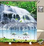MNIAHGFQW Cortina de la duchaPaisagem da floresta Cortina do banheiro 3D cenário Natural cachoeira impressão Cortinas de chuveiro poliéster à Prova dwaterproof água decoração para casa