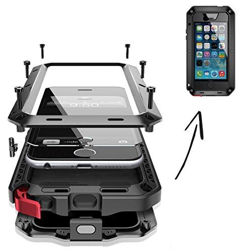 FINOO | wasserdichte Outdoor Handy Hülle für iPhone 6/6S mit Aluminium Legierung | Stoßfestes Robustes Metall Armor Case Cover | Panzer Hülle mit Gorilla Glas | Farbe schwarz