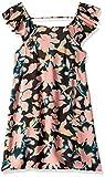 Maaji Girls' Big Printed with Ruffle Trimmed Straps Dress, Soft Breeze Pink geo Flower, 16