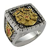 UNIQABLE Knight Templar Masonic Ring 18k Gold PLD White Version 40 Grams Handcrafted BR-19 (11.5)