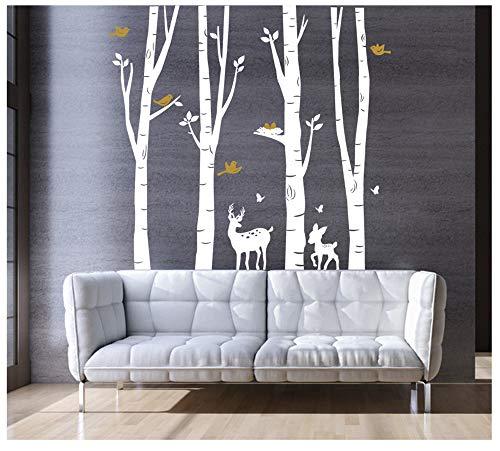BDECOLL Birkenstämme mit Hirsch und Reh (2farbig) in der Größe 185 cm hoch x 200 cm breit/Wald / Tiere/Wandaufkleber / Wandsticker (weiß)