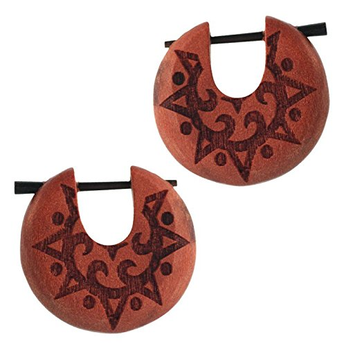 Holz Pin Creolen Sawoholz Horn-Pin 23 mm rund dunkle Gravur Motiv unisex