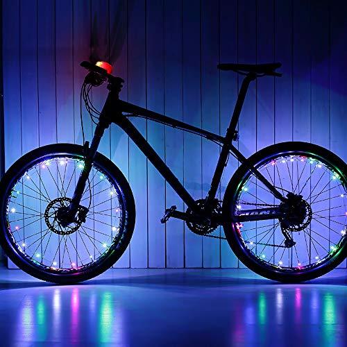 SOOHAO LED Fahrrad Rad Speichenlicht Super Bright 20 LED Wasserdichtes Fahrrad Rad Speichenlicht USB Wiederaufladbarer Speichenlichter Mehrfarbig IP65 Fahrrad Nachtlichter für Mountainbike (Bunt)