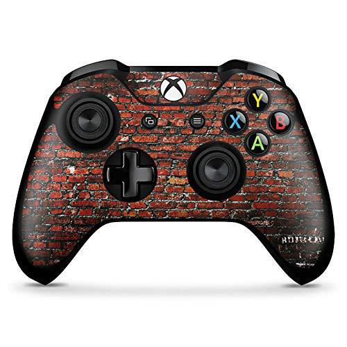 DeinDesign Skin kompatibel mit Microsoft Xbox One X Controller Aufkleber Folie Sticker Backstein Steinwand Steine Rot