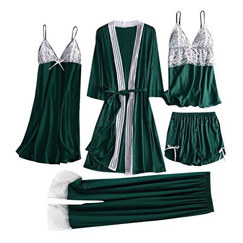 ZOTTOM 82-teilige Lace Simulation Silk Pyjamas Set Premium Pyjamas Home Service Verstellbarer Schultergurt Pyjama(B-Grün,Small)