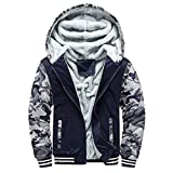 Clearance Forthery Men's Pullover Winter Fleece Hoodie Jackets Full Zip Warm Thick Coat(Dark Blue, US Size 3XL = Tag 4XL)